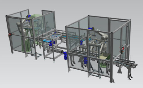 Výrobní linka se dvěma Ex roboty Stäubli